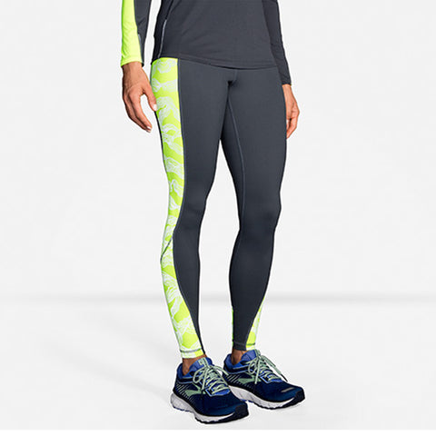 BROOKS WOMEN'S NIGHTLIFE TIGHT ASPHALT WAVE