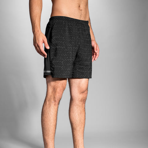 "BROOKS MEN' S SHERPA 7"" 2 IN 1 SHORT BLACK REFLECTIVE"