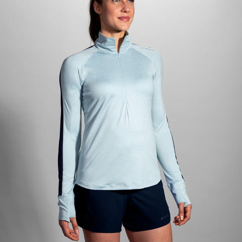 BROOKS WOMEN'S DASH HALF ZIP HEATHER GLACIER-NAVY