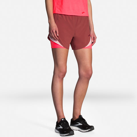 "Brooks Chaser 5"" 2-in-1 Short Women's Terracotta/Rosewater"