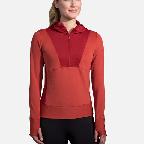 BROOKS NOTCH THERMAL HOODIE ROSEWOOD BEET WOMEN'S