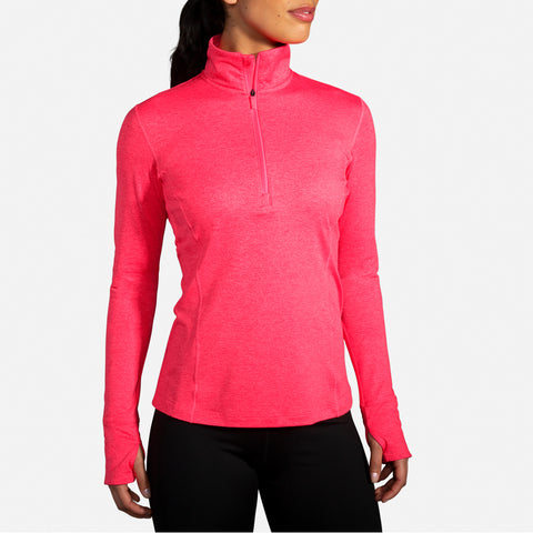 Brooks Women's Dash Half Zip Women's Heather/ Fluoro Pink