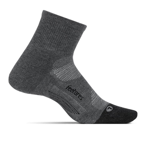FEETURES ELITE MAX CUSHION QUARTER SOCK GREY