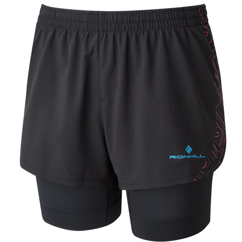 RONHILL INFINITY MARATHON TWIN SHORT WOMEN'S BLACK - SKY BLUE