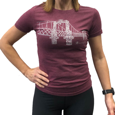 RUNNING FORM FERRY BRIDGE TEE WOMEN'S HEATHER BURGANDY