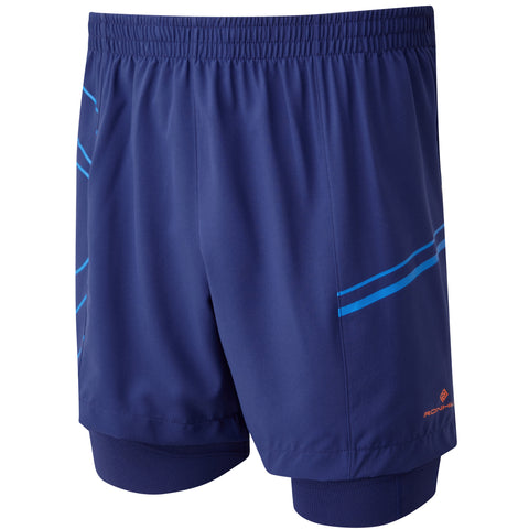 Ronhill Infinity Marathon Twin Short Navy - Electric