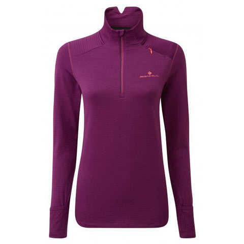 RONHILL STRIDE MATRIX HALF ZIP WOMEN'S GRAPE JUICE HOT CORAL