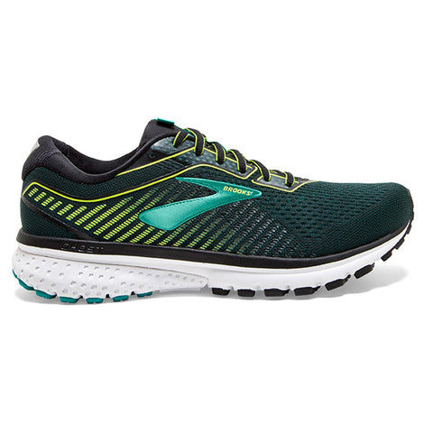 BROOKS GHOST 12 MEN'S 2E WIDE FIT BLACK GREEN BLUEGRASS