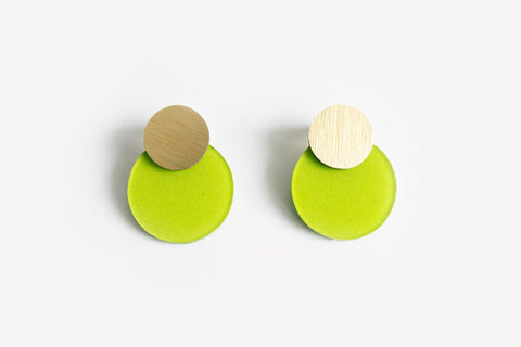 Chartreuse Earrings - Disc Stud