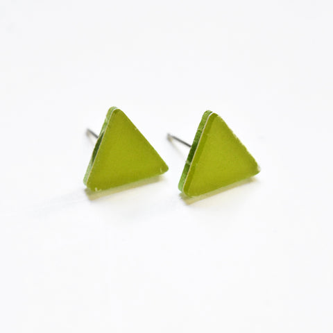 Chartreuse Stud Earrings - Triangle