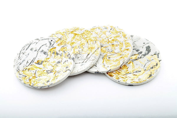 Marble Concrete Fractured Coasters - Gold -  Set of 4