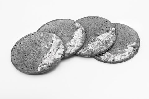 Concrete Fractured Coasters - Silver -  Set of 4
