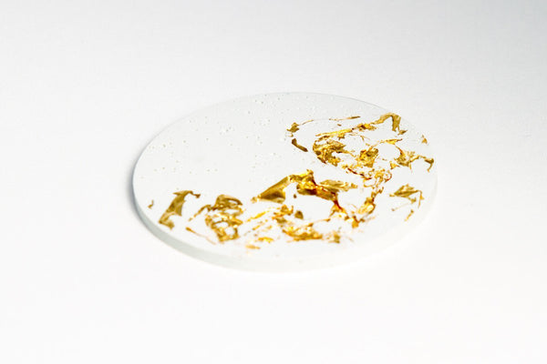 White Concrete Fractured Coasters - Gold -  Set of 4