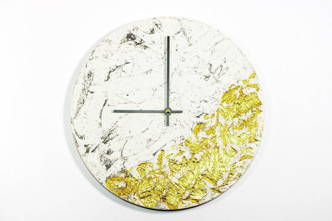 Marble Concrete Fractured Clock - Copper - 11 inch