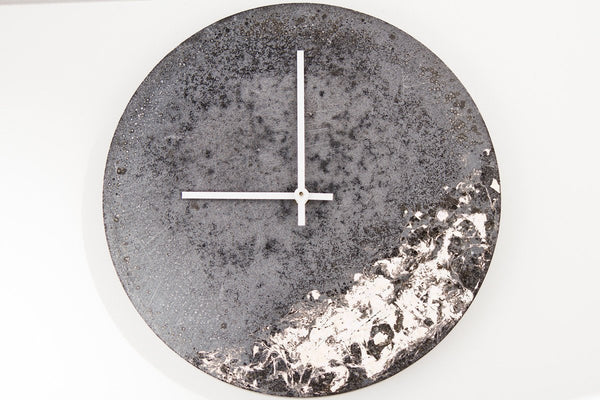 Concrete Fractured Clock - Silver - 11 inch