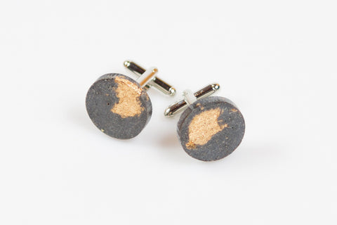 Concrete Fractured Cufflinks - Circle - Gold