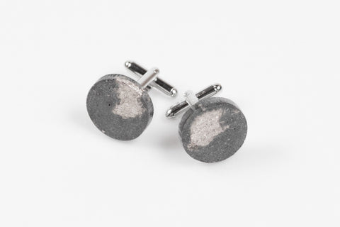 Concrete Fractured Cufflinks - Circle - Silver