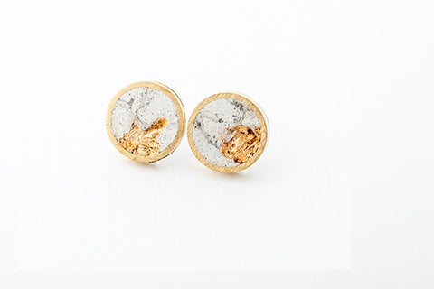 Marble Concrete Brass Earrings - Large Stud - Gold