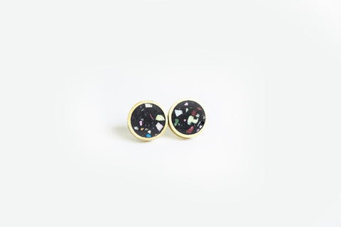 Confetti Concrete Brass Earrings - Small Stud - Black