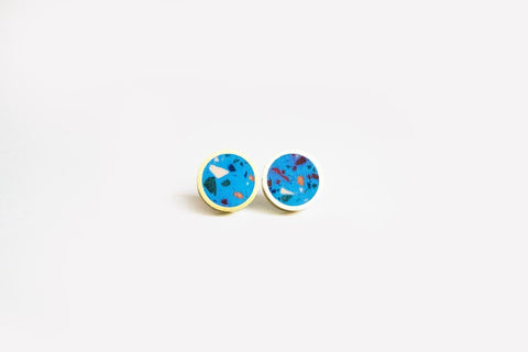 Confetti Concrete Brass Earrings - Small Stud - Blue