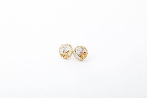Marble Concrete Brass Earrings - Small Stud - Gold