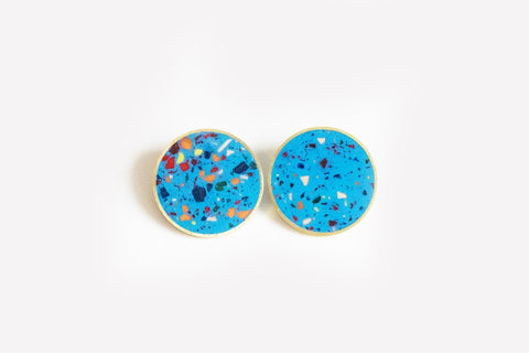 Confetti Concrete Brass Earrings - X Large Stud - Blue
