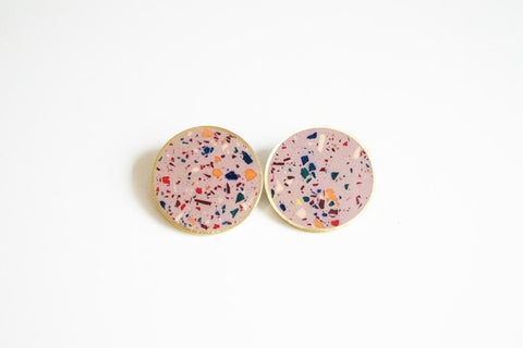 Confetti Concrete Brass Earrings - X Large Stud - Pink