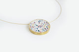 Confetti Concrete Brass Necklace - Large - White