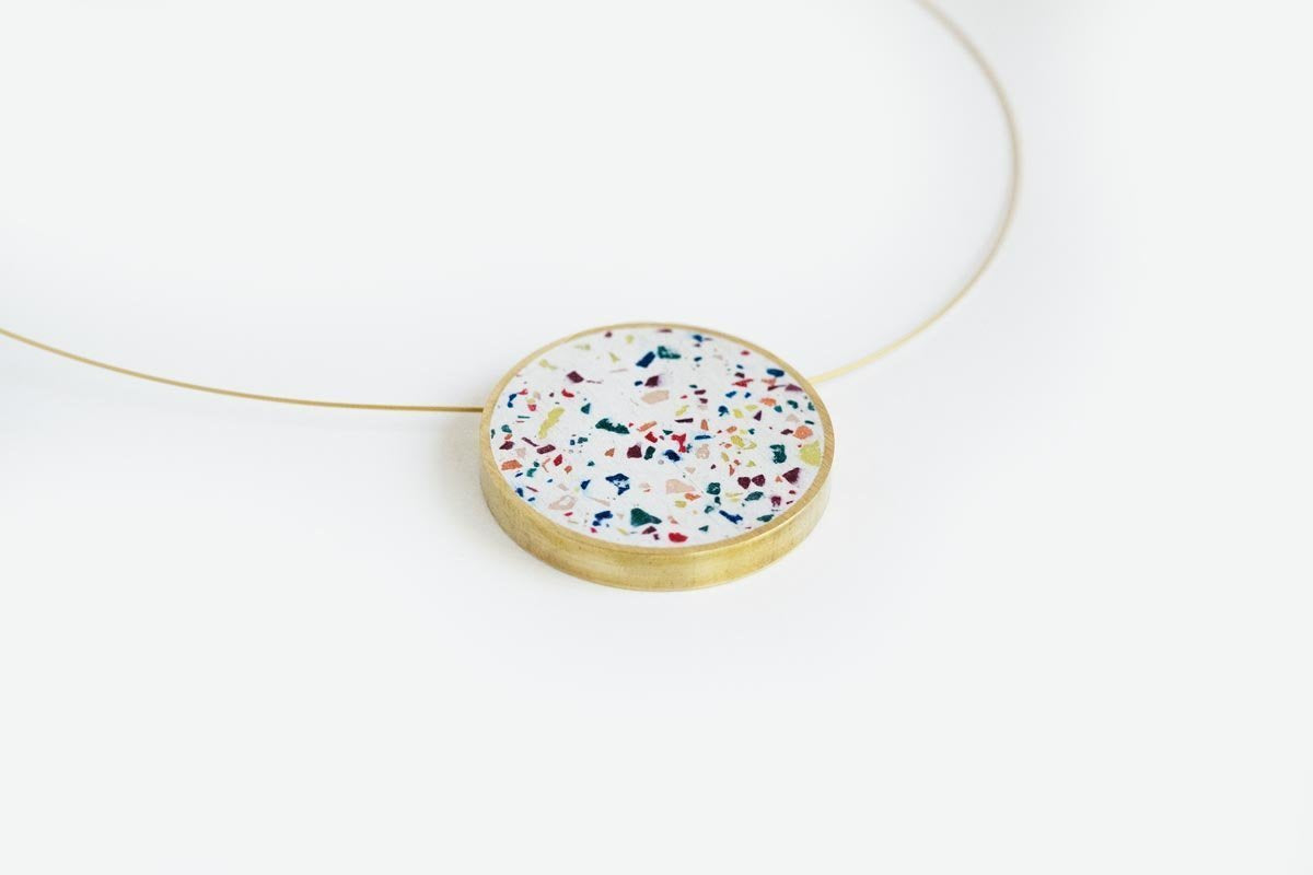 Concrete Confetti Framed Necklace - Circle - Large