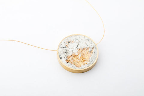 Marble Concrete Brass Necklace - Large - Gold