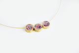 Confetti Concrete Brass Necklace - Trio - Pink