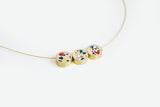 Confetti Concrete Brass Necklace - Trio - White