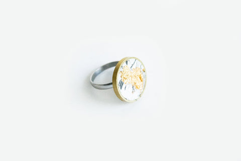 Marble Concrete Brass Ring - Medium - Marble Gold