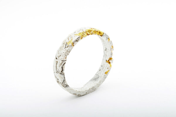 Marble Concrete Fractured Bangle - Circle - Gold
