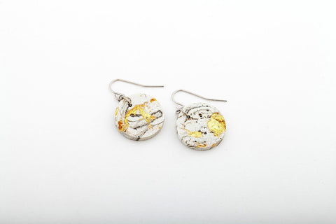 Marble Concrete Fractured Earrings - Circle - Gold