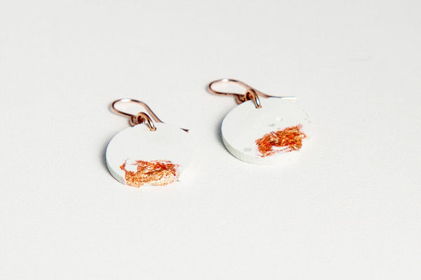 White Concrete Fractured Earrings - Circle - Copper