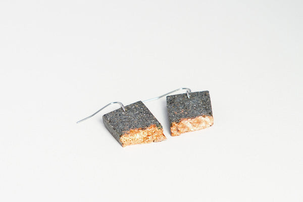 Concrete Fractured Earrings - Rectangle - Copper