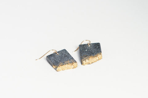 Concrete Fractured Earrings - Rectangle - Gold