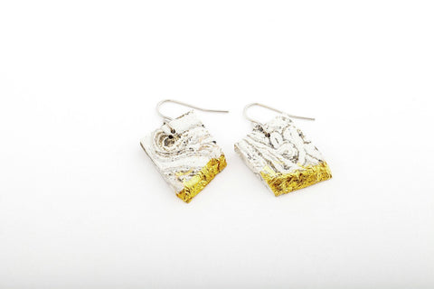 Marble Concrete Fractured Earrings - Rectangle - Gold