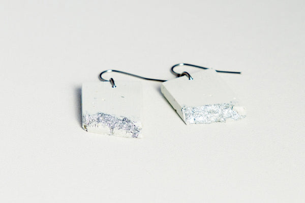 White Concrete Fractured Earrings - Rectangle - Silver
