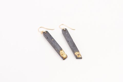 Concrete Fractured Earrings - Skinny 2 Inch - Gold