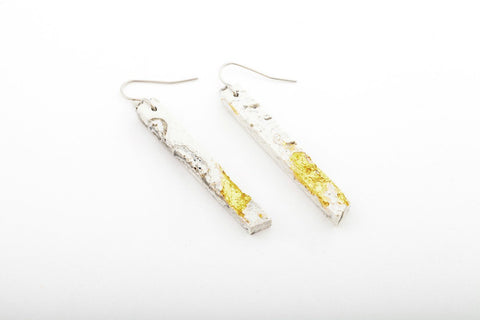 Marble Concrete Fractured Earrings - Skinny 2 Inch - Gold