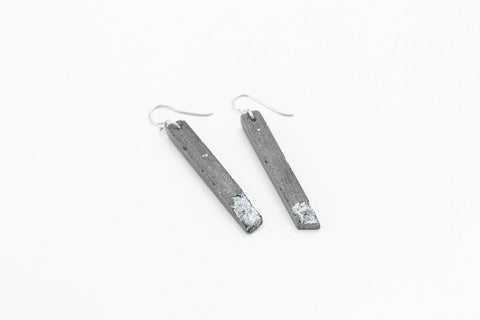 Concrete Fractured Earrings - Skinny 2 Inch - Silver