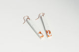 White Concrete Fractured Earrings - Skinny 2 Inch - Copper