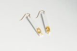White Concrete Fractured Earrings - Skinny 2 Inch - Gold