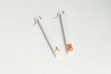 White Concrete Fractured Earrings - Skinny 3 Inch - Copper