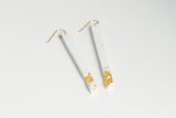 White Concrete Fractured Earrings - Skinny 3 Inch - Gold