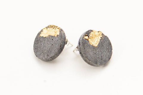 Concrete Fractured Earrings - Large Stud - Gold