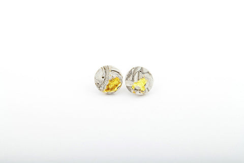 Marble Concrete Fractured Earrings - Large Stud - Gold