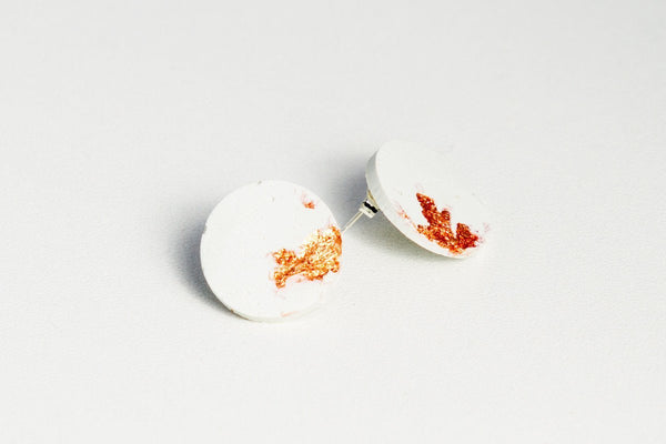 White Concrete Fractured Earrings - Large Stud - Copper